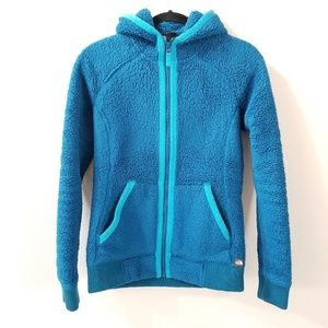 The North Face | Teal sherpa hoodie jacket size S